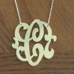 silver necklace , 8 Stunning Jennifer Zeuner Large Swirly Initial Necklace In Jewelry Category