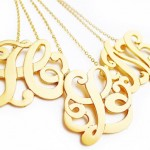 statement necklace , 8 Stunning Metal Script Monogram Necklace In Jewelry Category