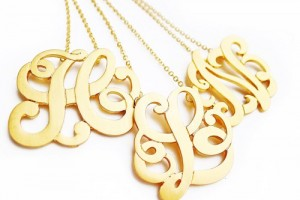 Jewelry , 8 Stunning Metal Script Monogram Necklace :  statement necklace