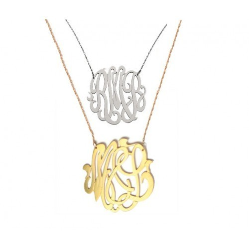 Jewelry , 8 Stunning Metal Script Monogram Necklace :  Sterling Silver