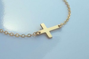Jewelry , 8 Best 14kt Gold Sideways Cross Necklace : tiny sideways cross necklace