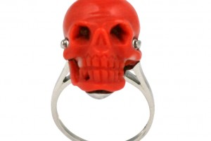 Jewelry , 9 Good Platinum Skull Ring : Antique Coral Skull Ring