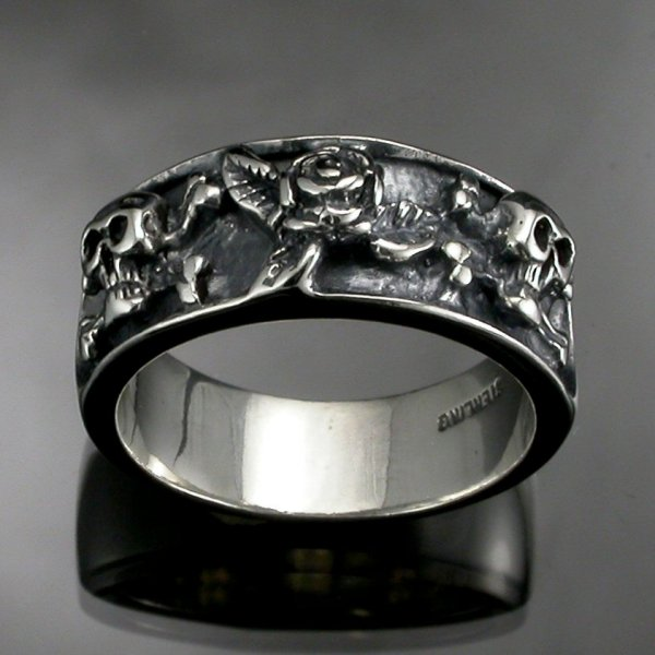 Antiqued Sterling Silver 8 Lovely Skull Wedding Bands Woman