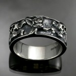 Antiqued Sterling Silver , 9 Cool Skull Wedding Band In Jewelry Category