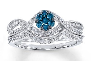 Jewelry , 9 Awesome Jared Wedding Sets : Blue Diamond Bridal Set