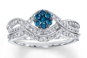 Jewelry , 9 Awesome Jared Wedding Sets : Blue Diamond Bridal Set