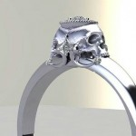 Diamond Skull engagement , 8 Unique Skull Wedding Ring In Jewelry Category
