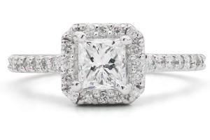 Jewelry , 8 Cool Wedding Rings Ebay : Princess Diamond Halo Engagement Ring
