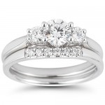 Three Stone Round Brilliant Diamond Wedding Set , 8 Good Costco Wedding Ring Sets In Jewelry Category