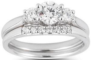 Jewelry , 8 Good Costco Wedding Ring Sets : Three Stone Round Brilliant Diamond Wedding Set