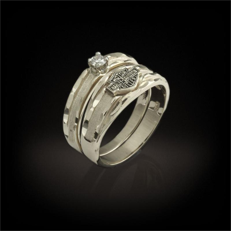 Jewelry , 7 Unique Harley Davidson Wedding Ring Sets : Wedding Band And Diamond Ring