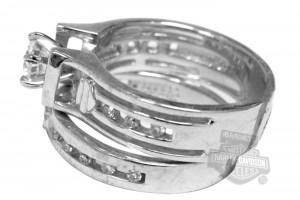Jewelry , 7 Unique Harley Davidson Wedding Ring Sets : Zirconia Wedding Set Silver Ring