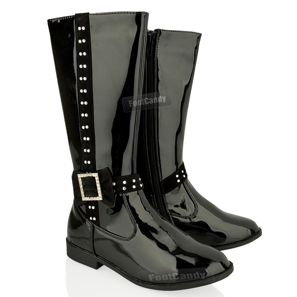 black high heel boots for kids girls fdbobka