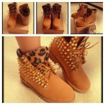 Brown  boots for women Collection , Beautiful  Timberlands With Spikes For Women  Collection In Shoes Category