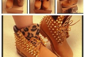 Shoes , Beautiful  Timberlands With Spikes For Women  Collection : Brown  boots for women Collection