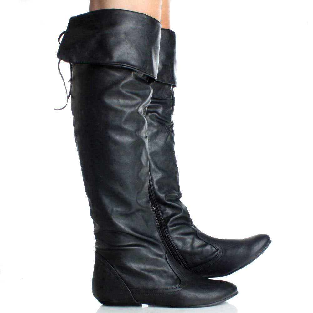 Shoes , Fabulous  Flat Boots For WomenProduct Ideas : Charming Black  Flat Leather Boots