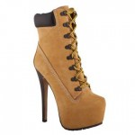 Gorgeous brown  high heel booties , Gorgeous Timberland High Heels product Image In Shoes Category