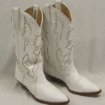 Pair Ladies White Circle S Cowboy Boots  Image Gallery , Charming White Cowboy Boots Photo Gallery In Shoes Category
