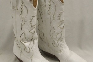 Shoes , Charming White Cowboy Boots Photo Gallery : Pair Ladies White Circle S Cowboy Boots  Image Gallery