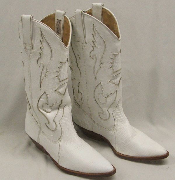 Shoes , Charming White Cowboy BootsPhoto Gallery : Pair Ladies White Circle S Cowboy Boots  Image Gallery