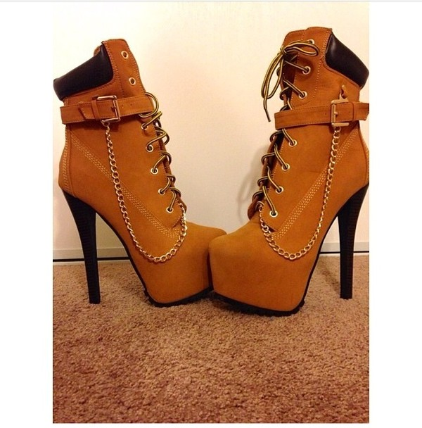pretty brown timberland high heel boots for