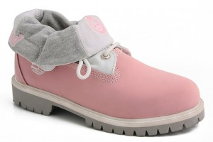 Shoes , Beautiful  Timberlands For Women Product Lineup : Roll Top Timberland Boots for Women Pink Gray product Image