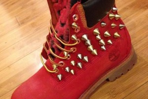Shoes , Beautiful  Timberlands With Spikes For Women  Collection : Stunning Red  timberlands boots with spikes