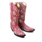 Swarovski Crystal Pink Floral Cowboy Boots , Gorgeous Pink Cowboy BootsPicture Collection In Shoes Category