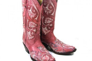 Shoes , Gorgeous Pink Cowboy Boots Picture Collection : Swarovski Crystal Pink Floral Cowboy Boots