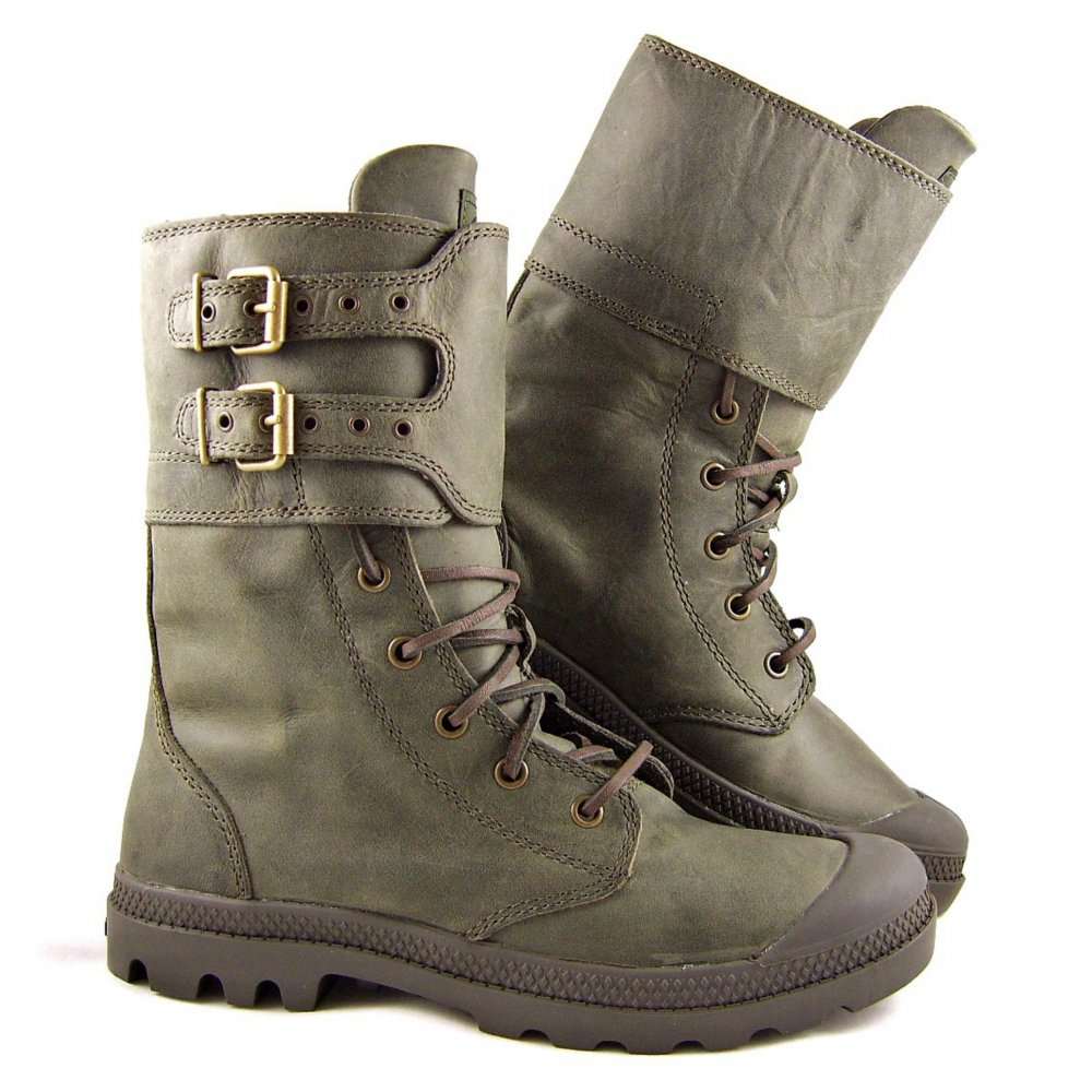 Simple  Baggy Olive Green Boots Palladium Mono Chrome Baggy Grey Boots R